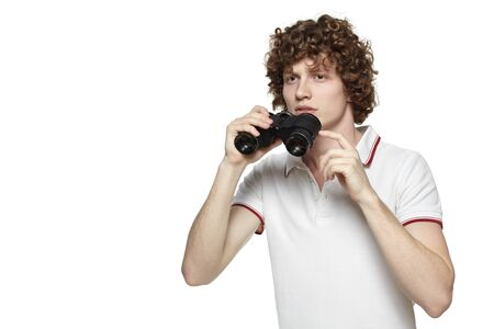 Portrait of a young male looking for new opportunities, over white baclground Stock Photo - 16796522