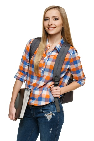 Smiling college university student woman standing with backpack holding folder isolated on white background  photo