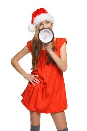 Portrait of beautiful Santa woman proclaiming into the loudspeaker, isolated on white background Stock Photo - 17055121