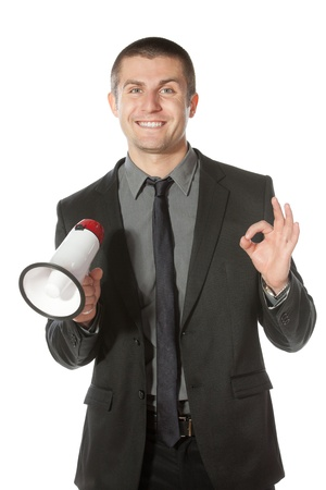 Portrait of a young business man having good news Stock Photo - 17157554
