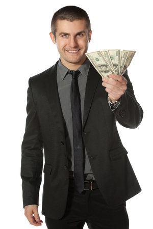 reach customers: Young business man offering pack of Euro money over white background