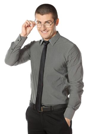 Handsome businessman wearing glasses over white background photo