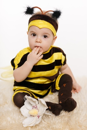 child finger: Baby wearing bee costume sitting on the floor, with finger in the mouth, on white background Stock Photo