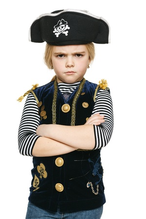 frown: Angry little pirate standing with folded hands, over white background