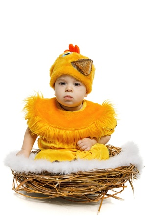 easter holiday: Baby sitting in nest in chicken costume, isolated on white background  Easter holiday concept