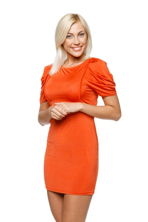 clasped: Young smiling woman in bright orange dress, over white background