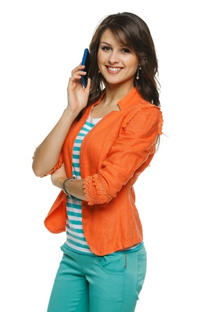 baclground: Bright picture of young woman talking on cellphone, over white baclground