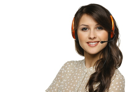 client service: Smiling cheerful support phone operator woman in headset, isolated on white background
