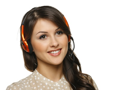 helpline: Smiling cheerful support phone operator woman in headset looking out of frame, isolated on white background