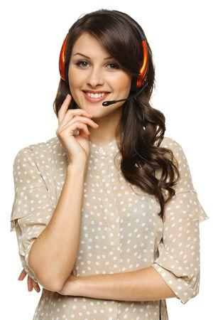 recepcionista: Sonriente tel�fono mujer alegre apoyo operador en auriculares, aislados en fondo blanco Foto de archivo