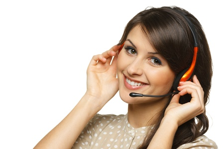 Smiling cheerful support phone operator woman in headset, isolated on white background Stock Photo - 17537562