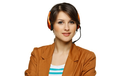 Smiling cheerful support phone operator woman in headset, isolated on white background Stock Photo - 17537583