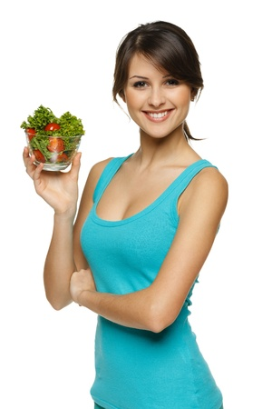 Smiling woman holding healthy salad meal, over white Stock Photo - 17537612