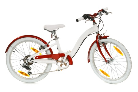 bycicle: White and red kid bycicle, isolated on white background Stock Photo