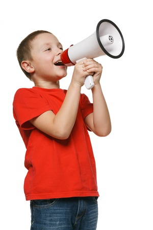 to announce: Child screaming into a megaphone