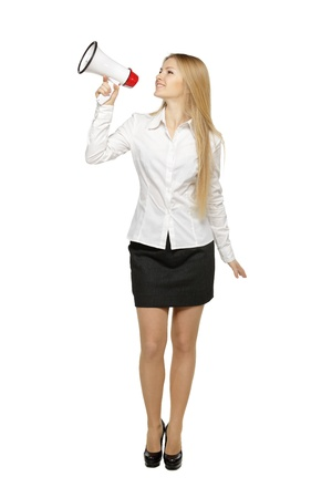 Full length of young business woman with megaphone, over white background Stock Photo - 17861688