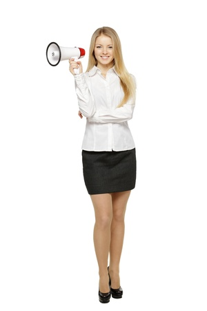 Full length of young business woman with megaphone, over white background Stock Photo - 17861685
