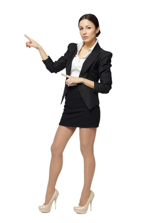 push people: Full length of beautiful business woman showing copy space with both hands, over white background