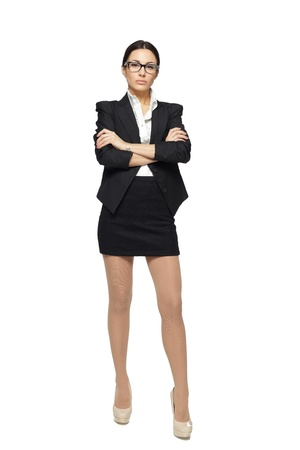 cross arms: Business woman standing in full length with folded hands, isolated on white background