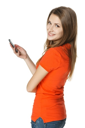 calling on phone: Happy woman with mobile phone, over white background Stock Photo