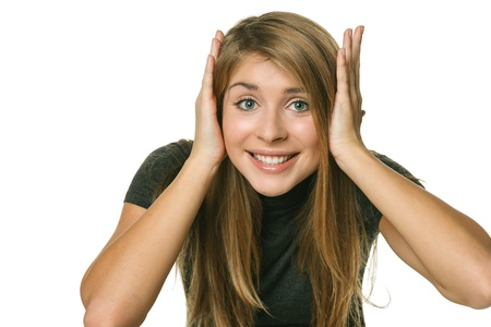 astonished: Young excited girl holding head in her hands, over white background