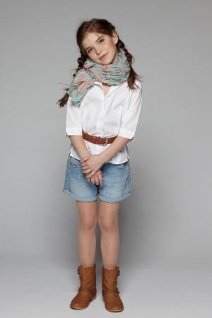 denim jeans: Little fashion girl in full length