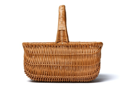empty basket: Side view of ompty wicker basket isolated on white background
