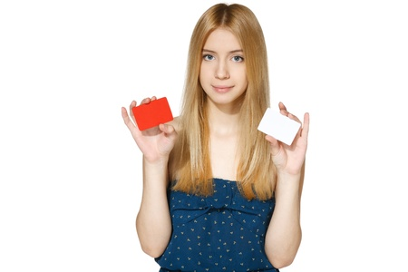 creditcard: Teenager female holding twoblank credit cards isolated on white background