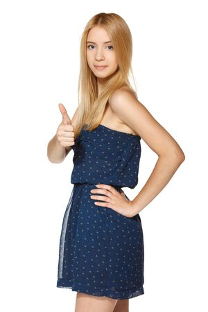 acclamation: Lovely girl showing thumb up sign, over white background