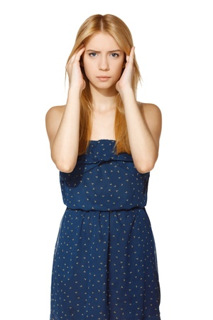 feeling sad: Unhappy woman holding her head with hands Stock Photo