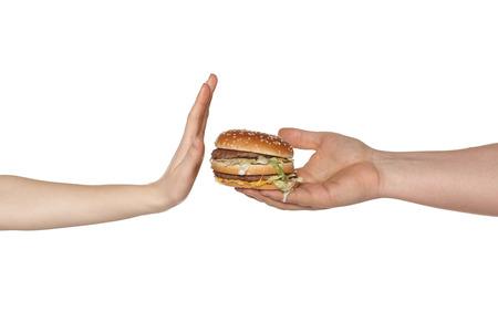 패스트 푸드 식사를 거부하는 여성의 손 스톡 콘텐츠