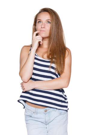 Pensive girl teenager hipster with chin on hand looking to the side contemplating, over white  photo