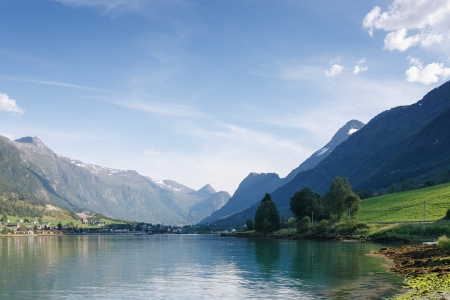 olden: Nordfjord, Olden city, Norway Stock Photo