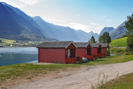 wooden houses: Camping on the shore of Nordfjord, Norway