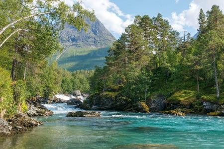 scandinavian landscape: Mountain river passing in green Norwegian mountains