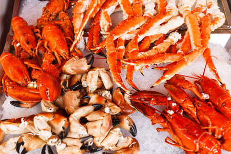 crab meat: Closeup of lobsters, crabs and king crabs in Bergen fish market, Norway