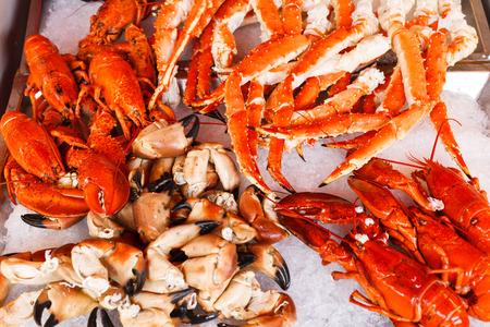 cangrejo: Primer plano de las langostas, cangrejos y centollas en el mercado de pescado de Bergen, Noruega