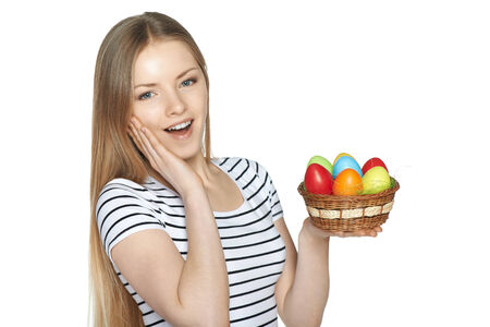 Surprised female holding basket with Easter eggs isolated on white background photo