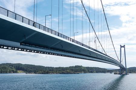 suspension: Stordabrua is a suspension bridge and one of the largest suspension bridges in Norway Stock Photo