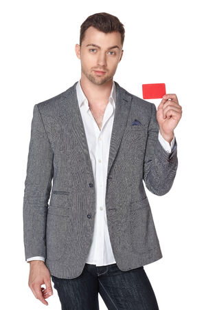 businesscard: Calm smiling business man showing blank businesscard, isolated over white background