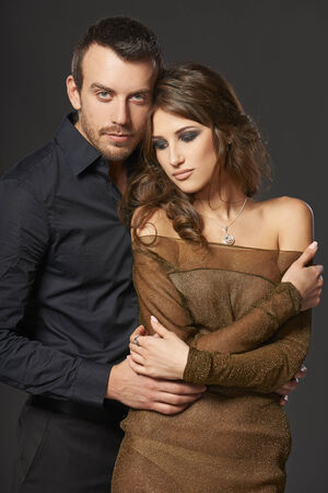 Beautiful sexy intimate couple hugging