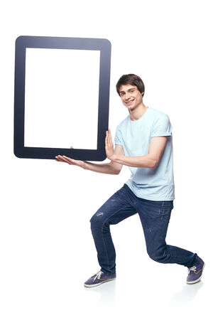 Full length man carrying tablet frame, over white background