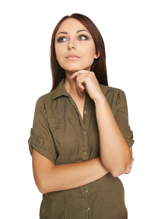 envisage: High angle view image of a thinking woman looking up, over white background