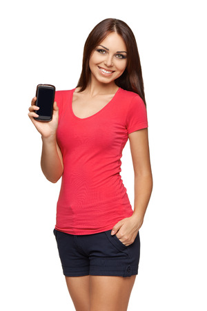 Young woman showing mobile cell phone with black screen over white background