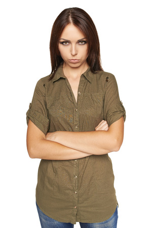 brooding: Brooding young woman over white background Stock Photo