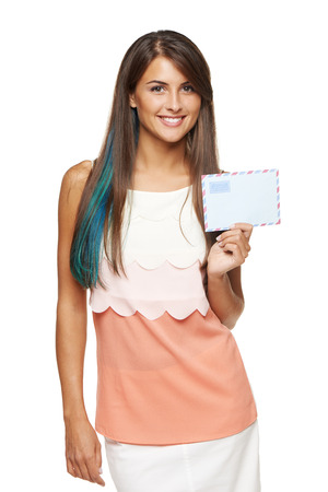 addressee: picture of smiling woman holding white blank card Stock Photo