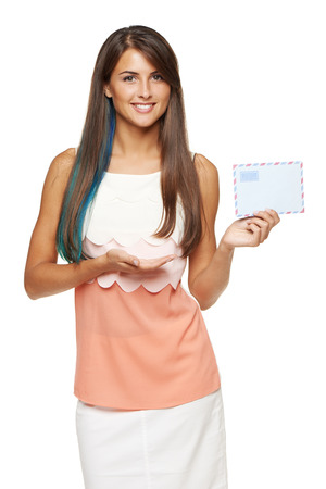 missive: picture of smiling woman holding white blank card Stock Photo