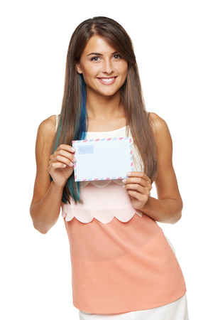 addressee: Trendy young smiling woman with blue hair coloring showing blank envelope banner, over white background.