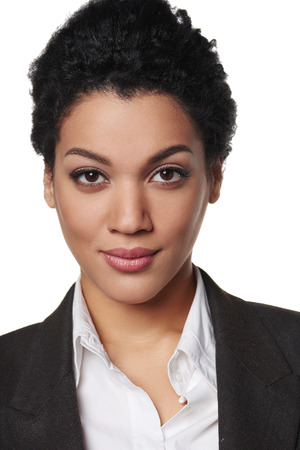 Closeup portrait of african american business woman looking serious and confident Archivio Fotografico