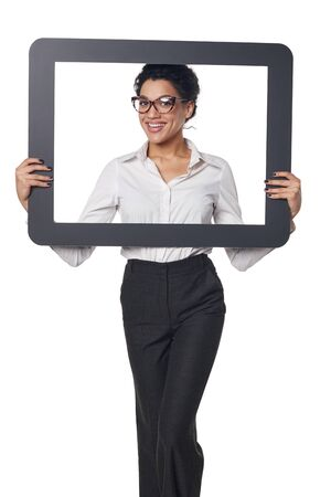 looking through frame: Happy smiling business woman looking through frame, over white background